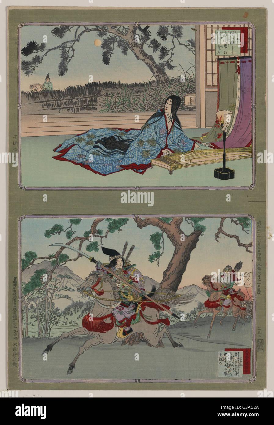 51: Kogo no Tsubone ; 52: Tomoe Gozen. Print shows (top half) Kogo no Tsubone, the emperor's mistress, lying - Stock Image