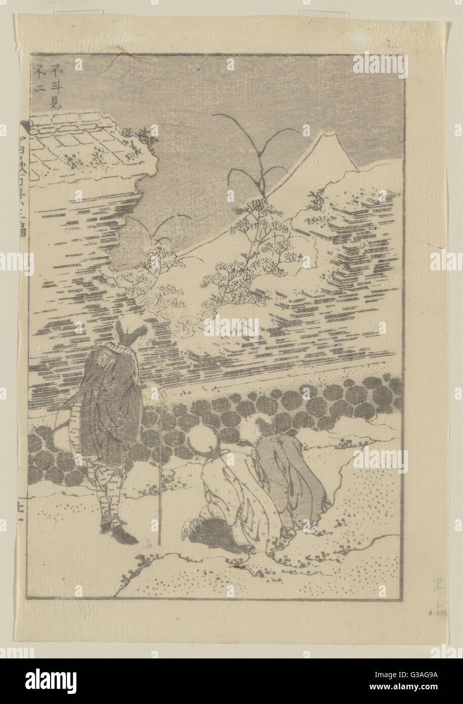 Mount Fuji at second glance. Print shows three travelers looking at Mount Fuji through an opening in a wall. Date - Stock Image