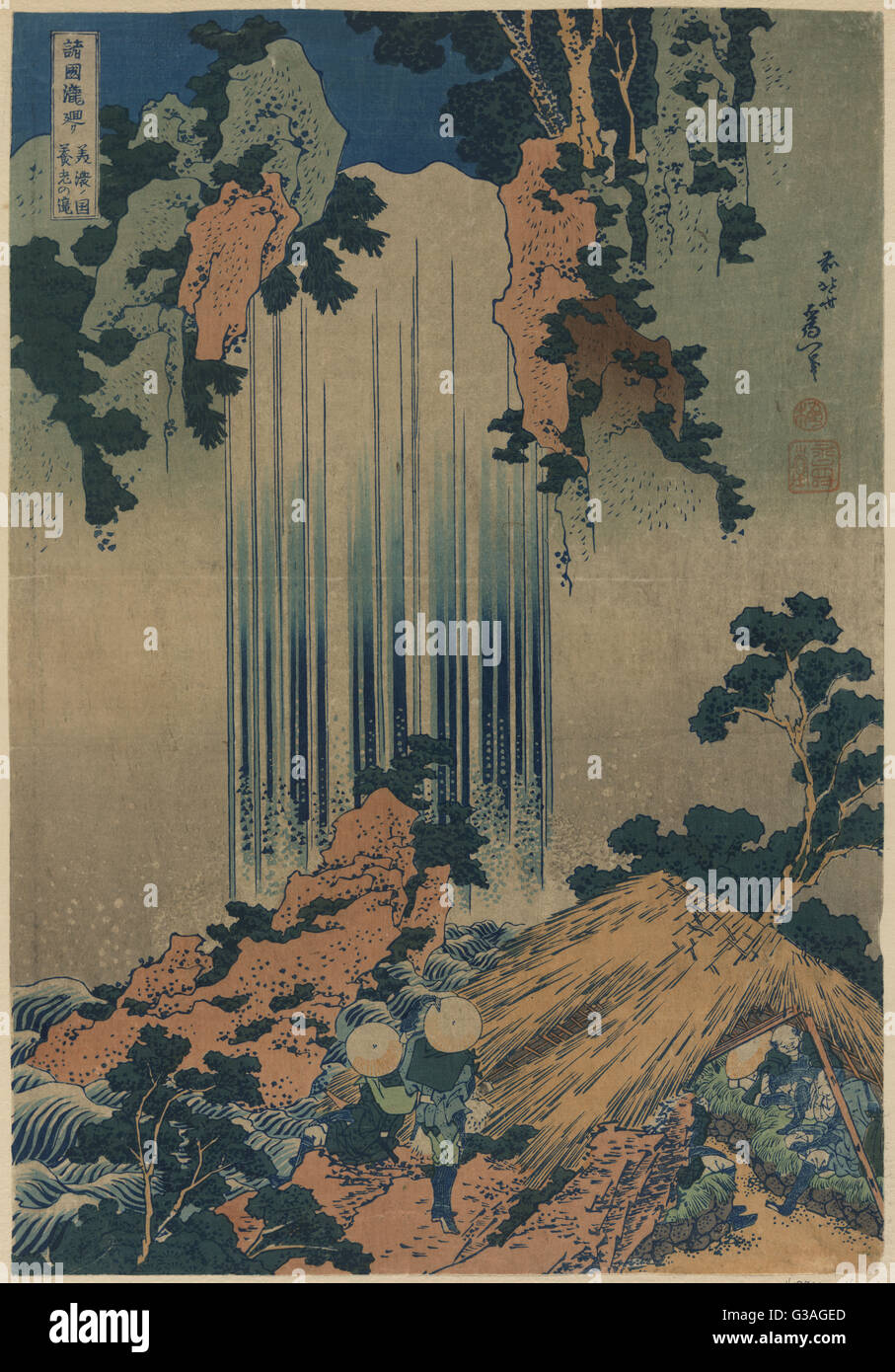 yoro waterfall in mino print shows two pilgrims looking at