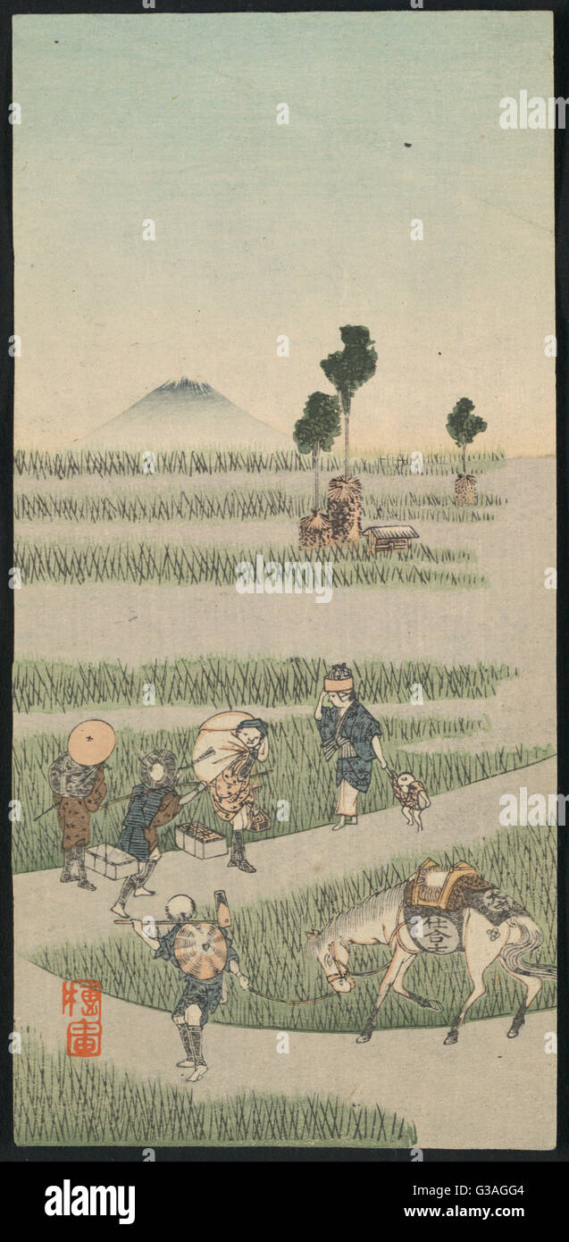 Genre scene in a rice paddy. Print shows travelers walking along path through a rice paddy, with Mount Fuji in the - Stock Image