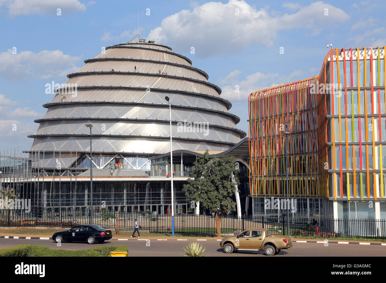 Dome of the newly build Kigali Convention Center, opening July 2016. Kigali, Rwanda - Stock Image