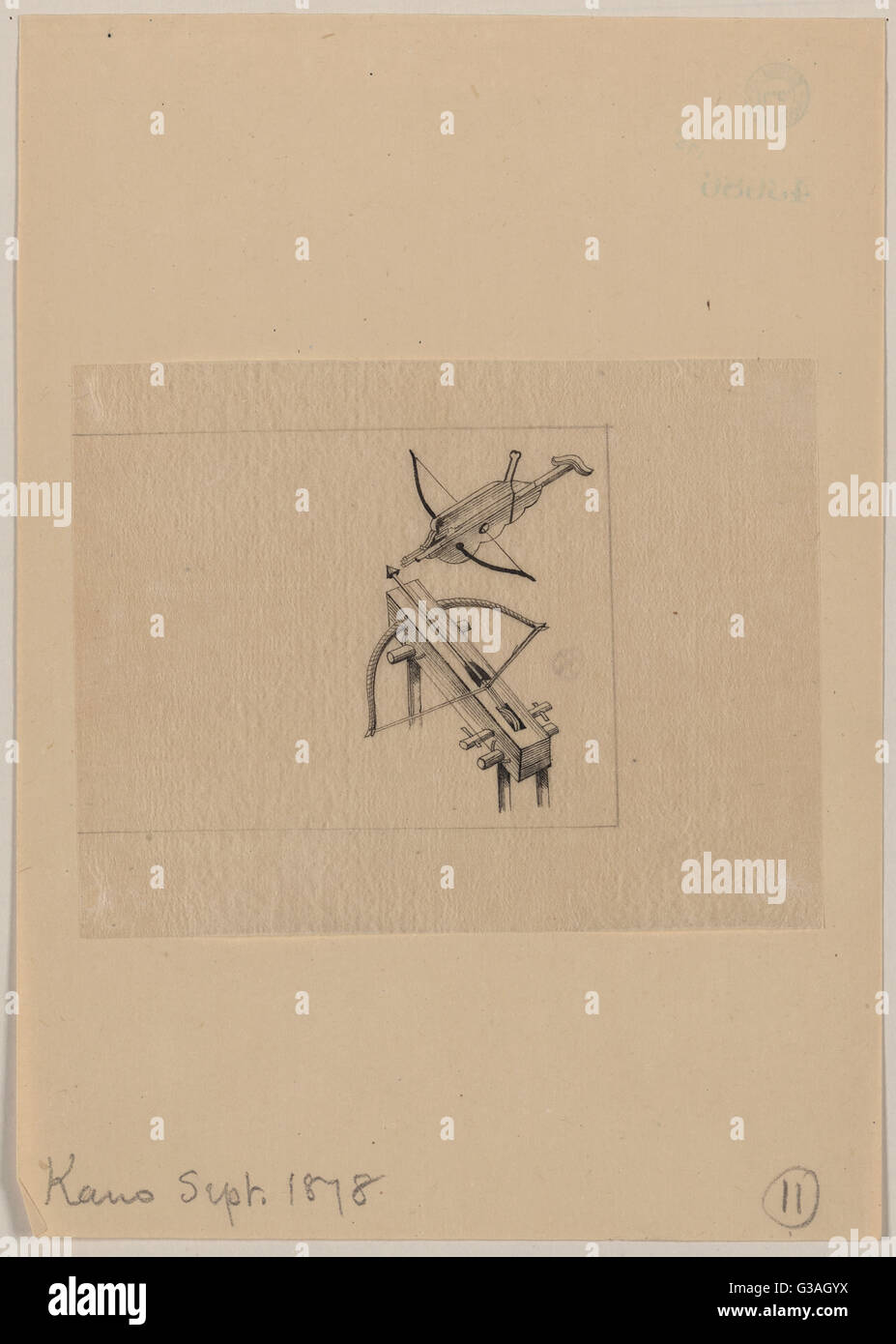 Two crossbow designs. Date 1878 Sept. - Stock Image