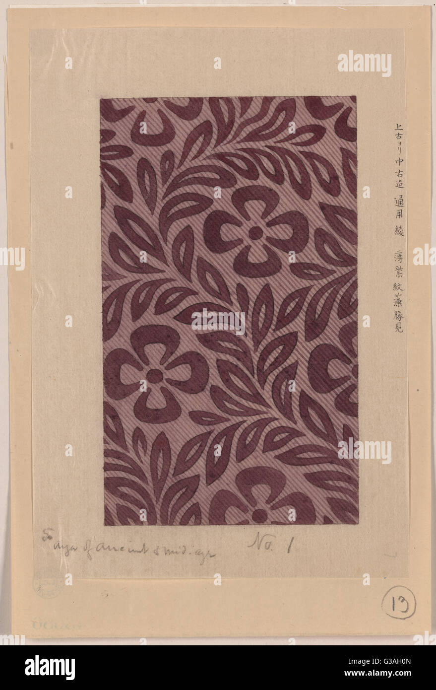 Textile design with flower motif. Date 1878?. - Stock Image