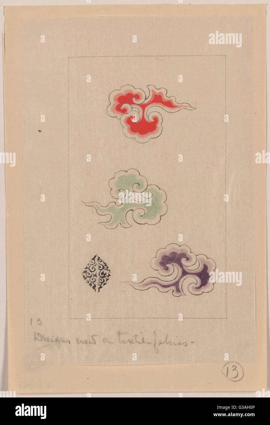 Designs now on textile fabrics. Date 1878?. - Stock Image