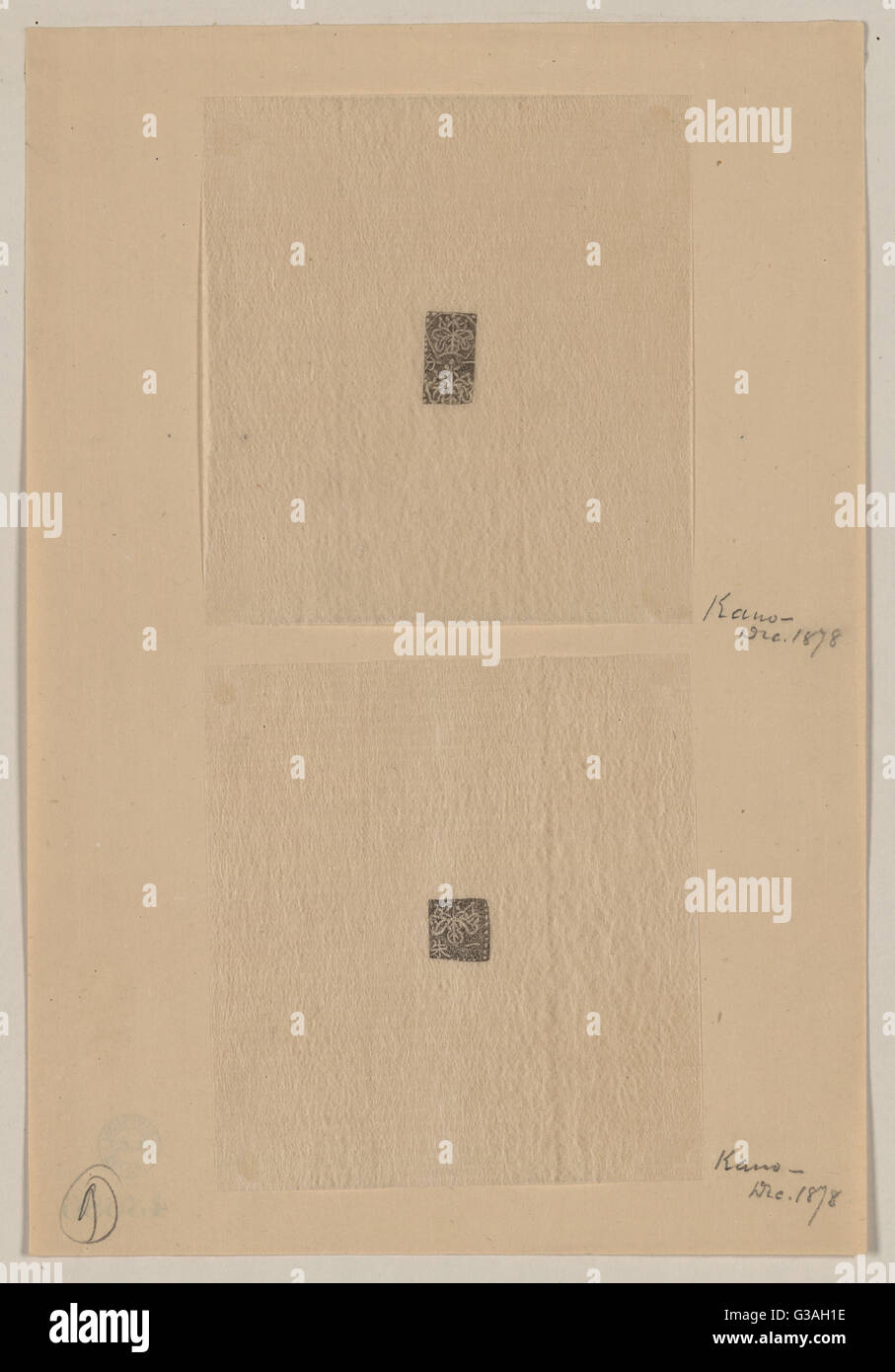 Design drawings for rectangular seals or stamps. Date 1878 Dec. - Stock Image