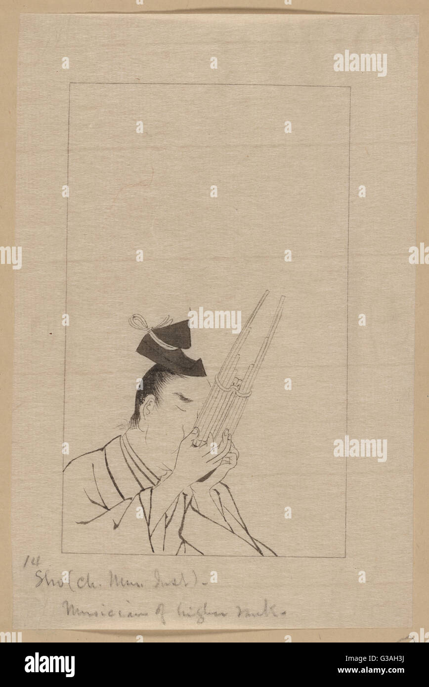 Sho (Ch. mus. inst.) - musician of higher rank. Drawing shows a nobleman playing a sho, a panpipe-like Chinese musical - Stock Image