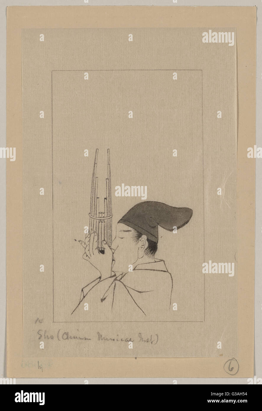 Sho (Chinese musical inst.). Drawing shows a man, head-and-shoulders, left profile, playing a sho, a panpipe-like - Stock Image
