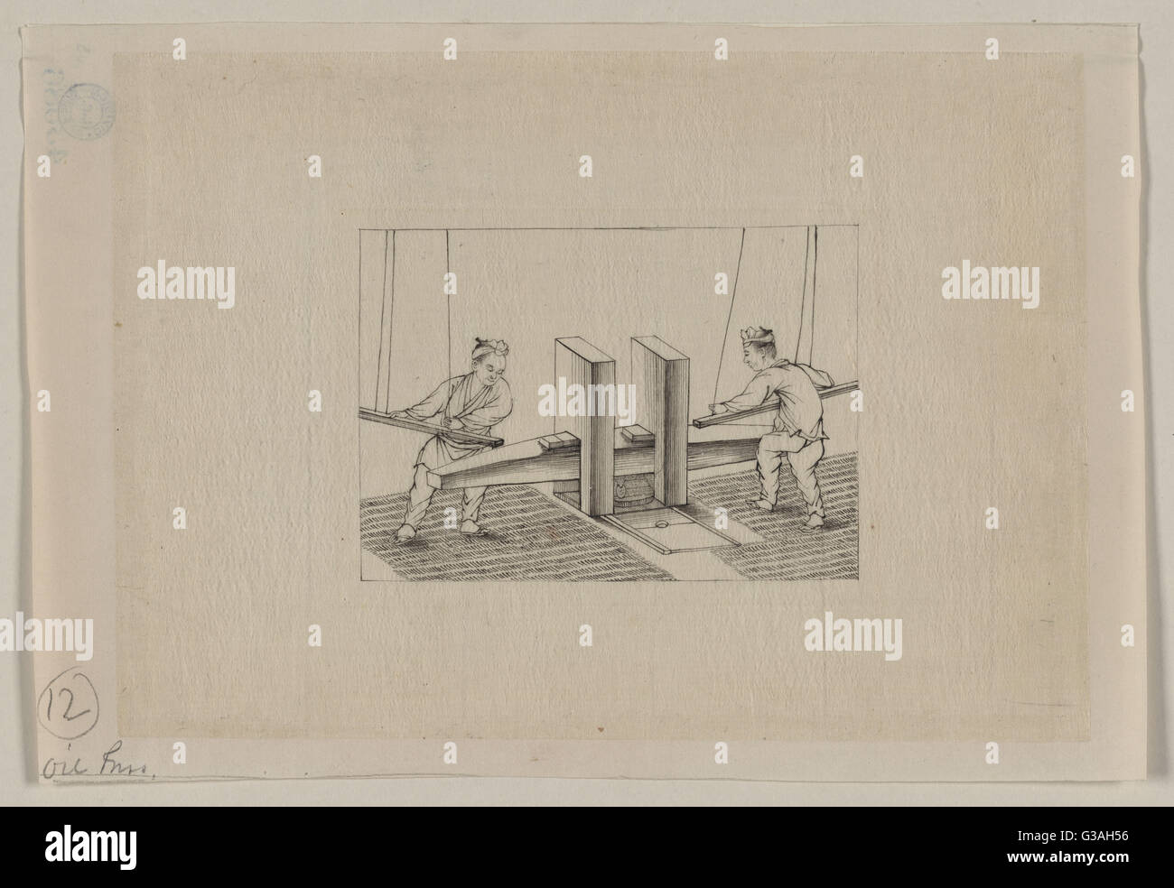 Oil press. Drawing shows two men using rods suspended by ropes to hit and force materials through a large press - Stock Image