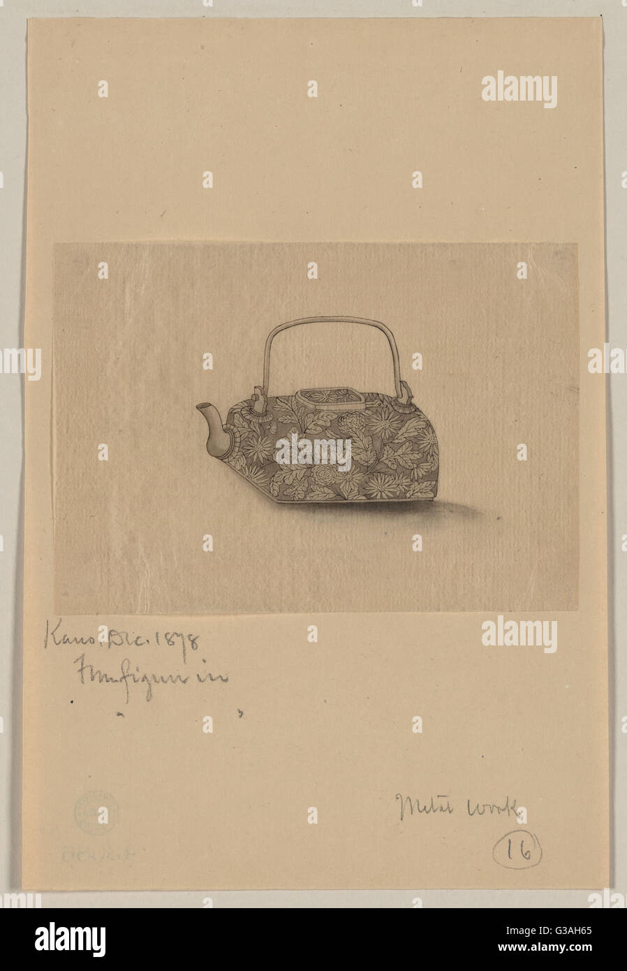 Metal teapot with floral designs. Date 1878 Dec. - Stock Image