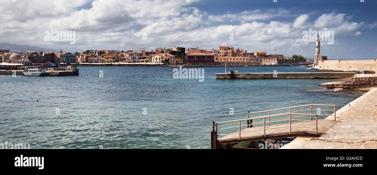 Chania harbour in Crete Island, Greece - Stock Image