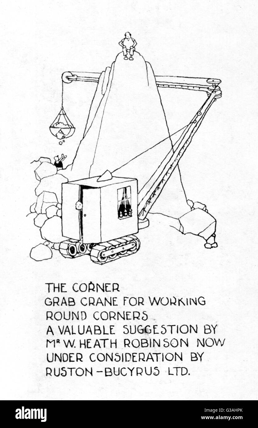 The Corner Grab Crane for working round corners - a valuable suggestion by Mr W. Heath Robinson now under consideration - Stock Image