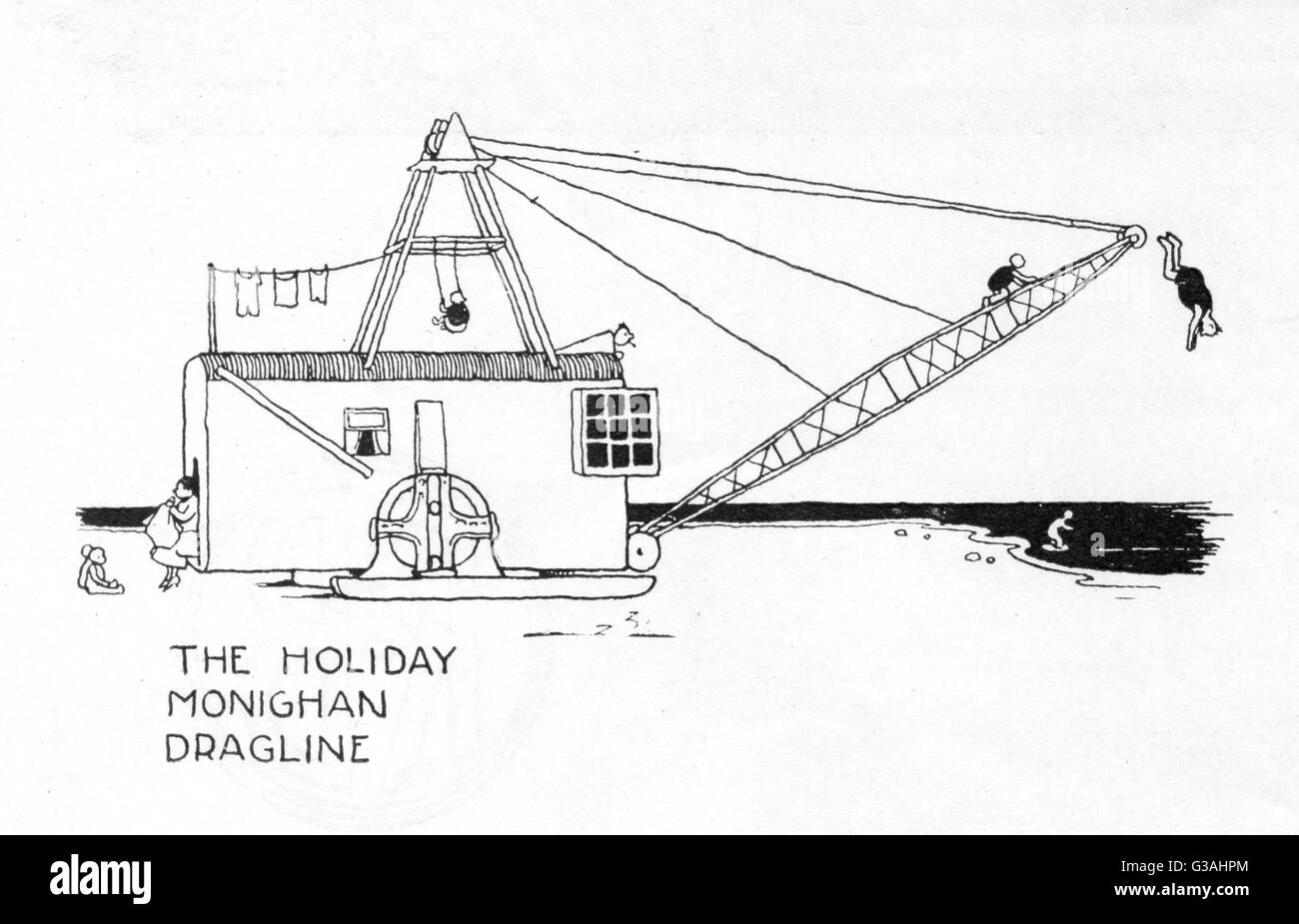 A dragline machine usually used in excavation, converted into a pleasant holiday home with room for a swing, a washing - Stock Image