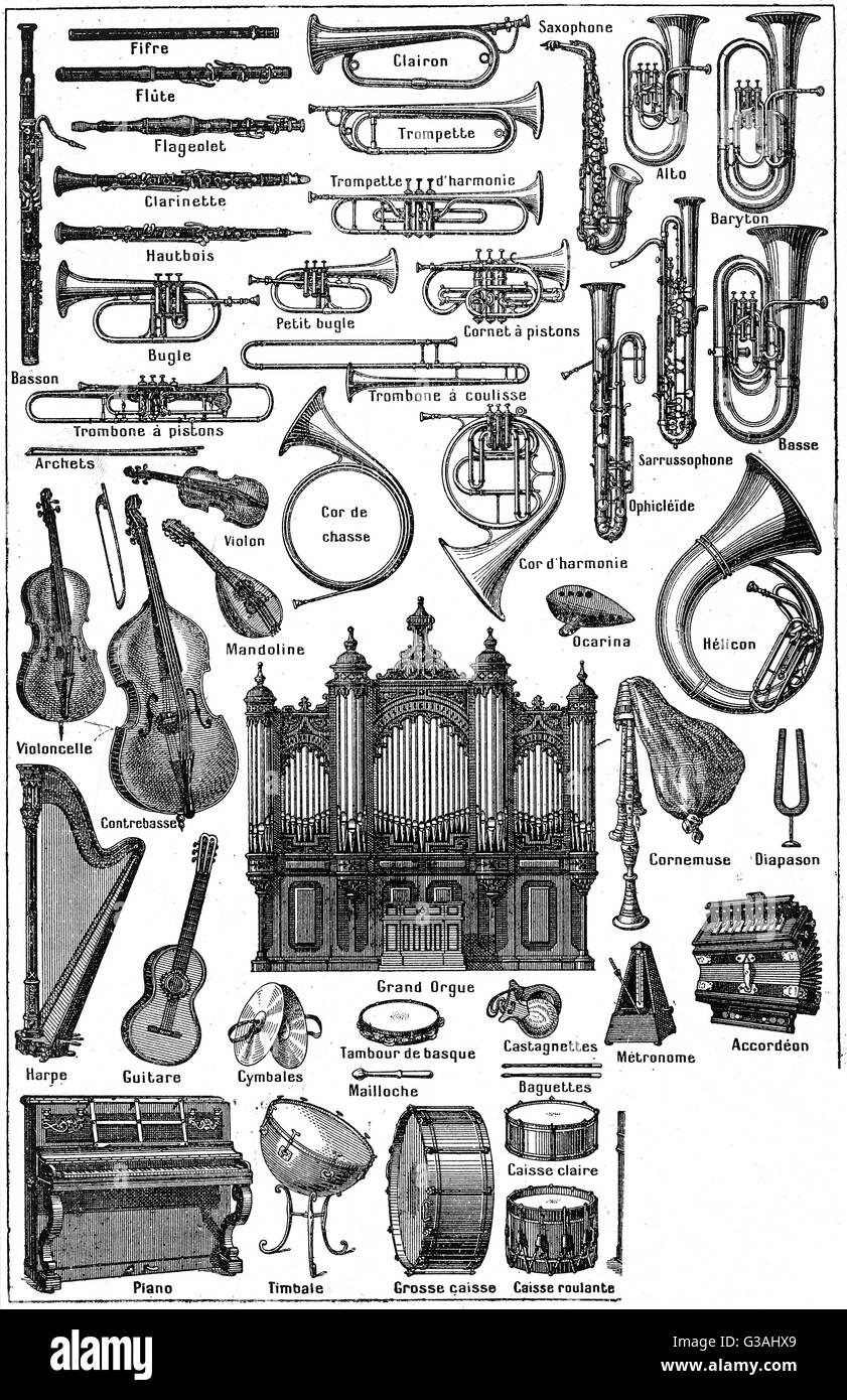 Various musical instruments. - Stock Image