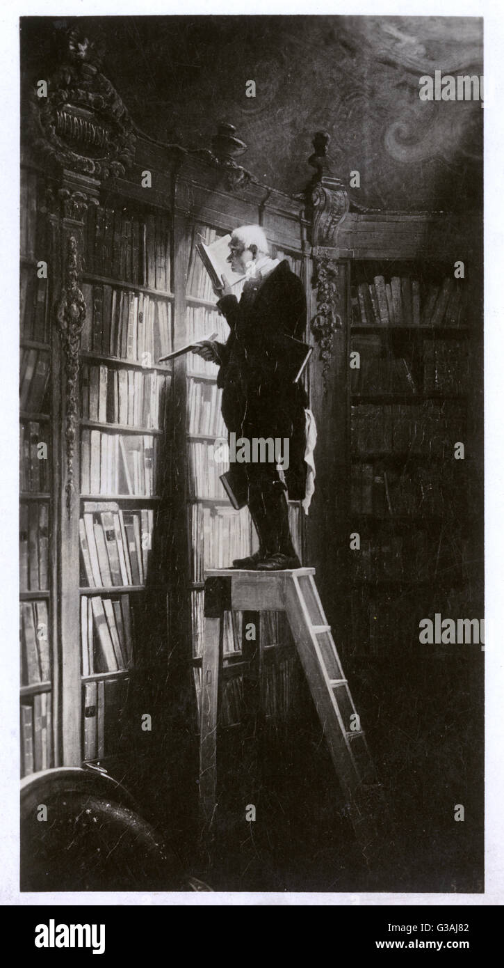 A monochrome reproduction of Carl Spitzweg's 'The Bookroom'  which shows an elderly bookworm emersed - Stock Image