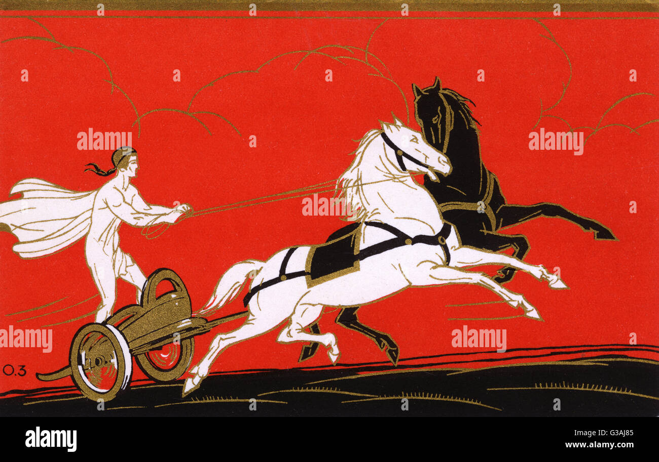 Ancient Greek Charioteer with one black and one white horse. Promotional card for Red Star Line travel promoting - Stock Image