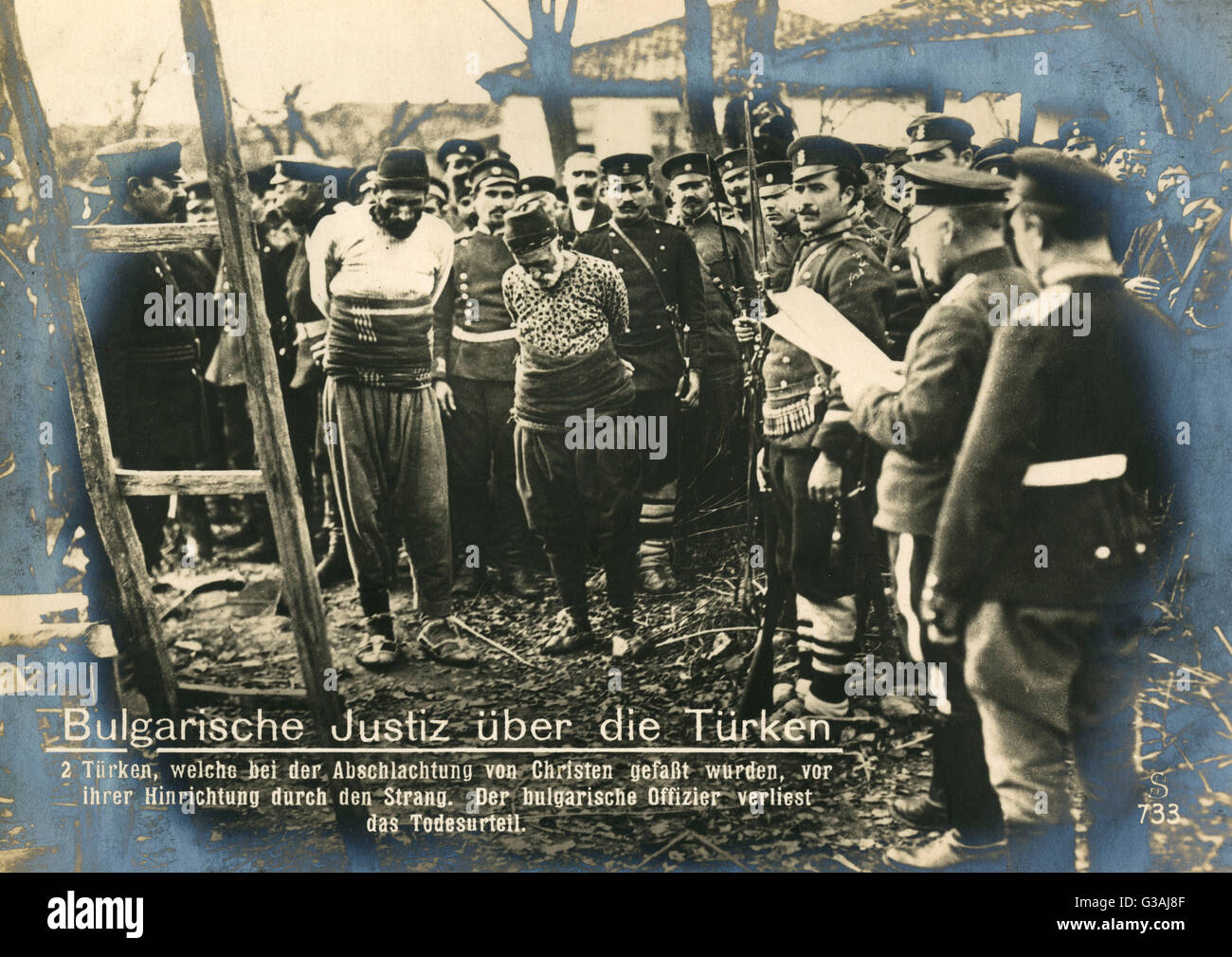 Bulgarian judiciary over the Turks following the Balkan Wars of 1912-13.    Turks, who were caught in the slaughter - Stock Image
