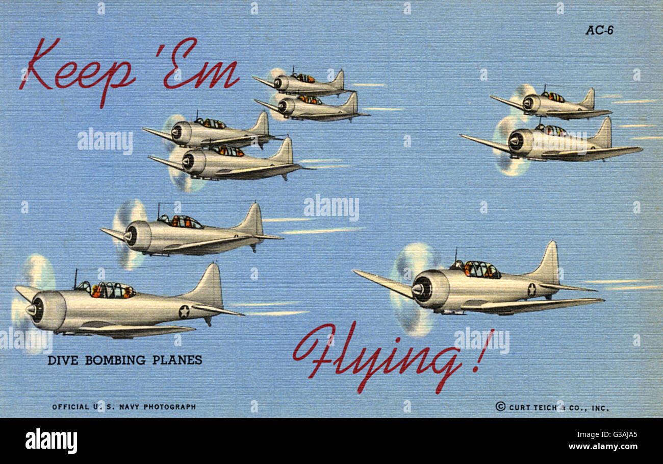 """Keep 'em Flying - US Dive Bombing Planes. he planes shown here are all U.S. Navy Douglas SBD (""""Scout - Stock Image"""
