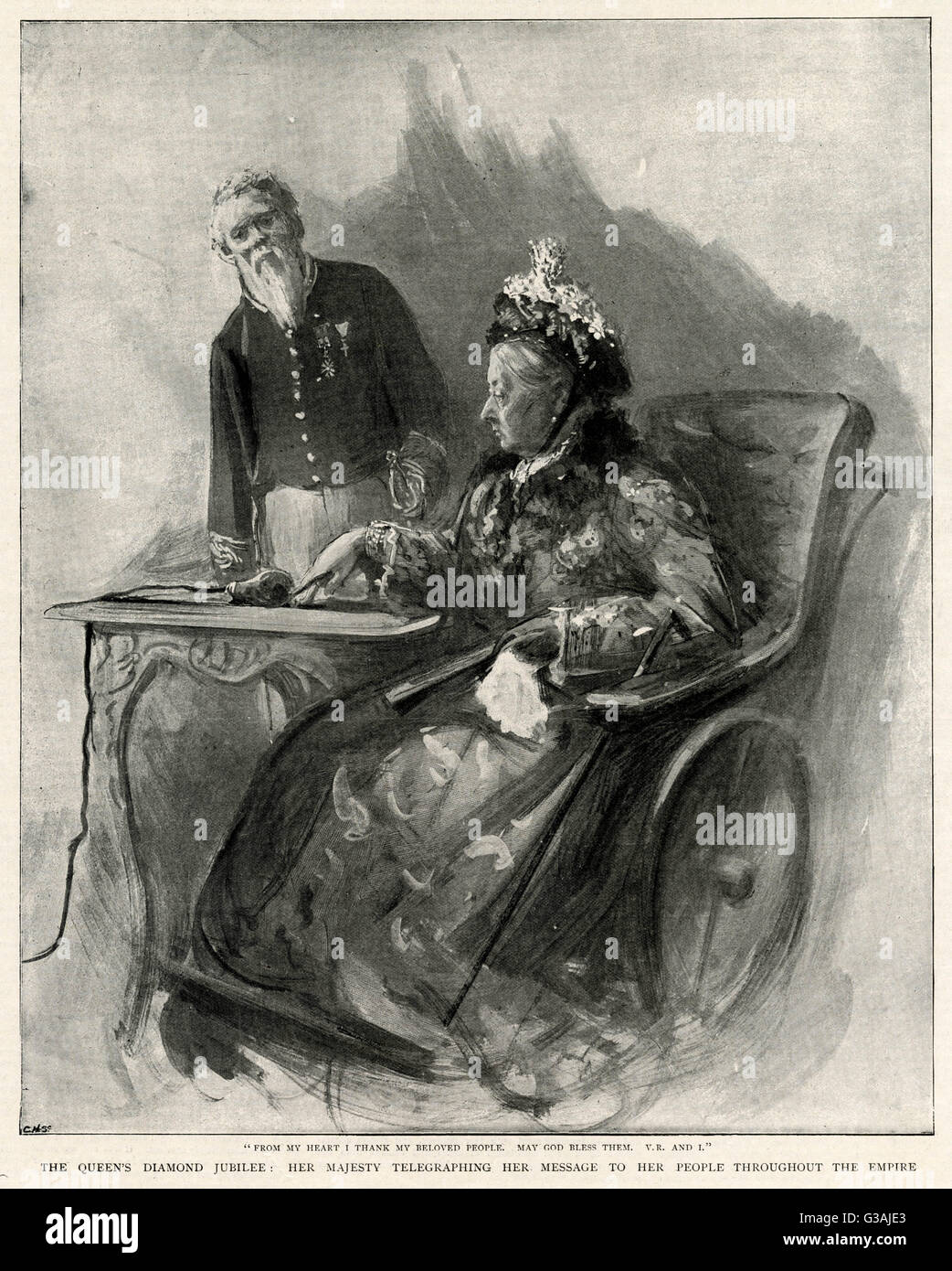 """Queen Victoria sending a message to the nation on her Diamond Jubilee.  """"From my heart I thank my beloved - Stock Image"""