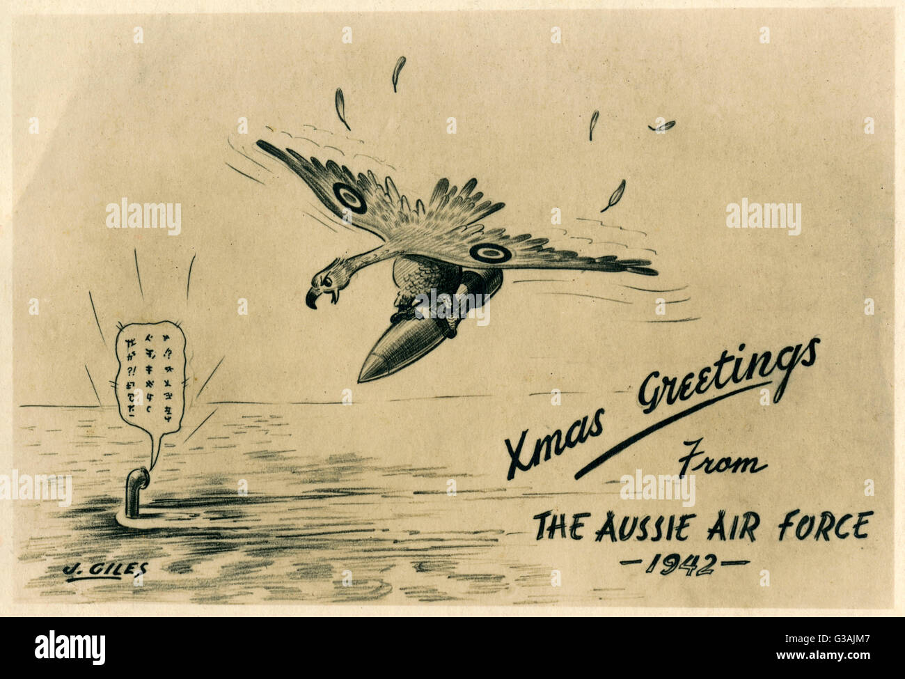 Christmas greetings from the australian airforce an raf hawk is christmas greetings from the australian airforce an raf hawk is flying in with a large bomb to take out a japanese submarine which is spouting curses via m4hsunfo
