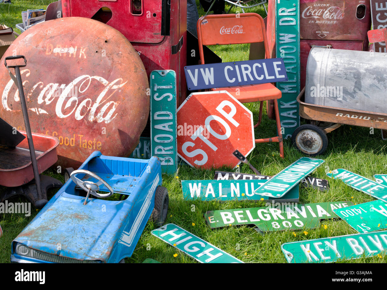 Old american street signs and collectibles at a car show autojumble. UK - Stock Image