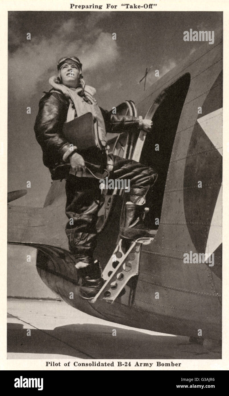 Pilot of a Consolidated B-24 US Army Airforce Bomber climbing into his aircraft, prior to take-off.     Date: circa - Stock Image