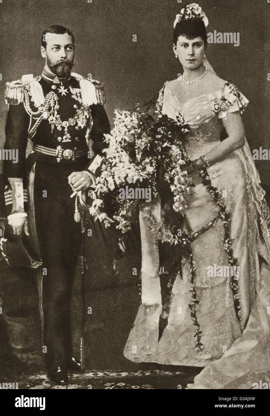 The marriage of the Duke of York and Princess Victoria May of Teck, (later King George V and Queen Mary consort), - Stock Image