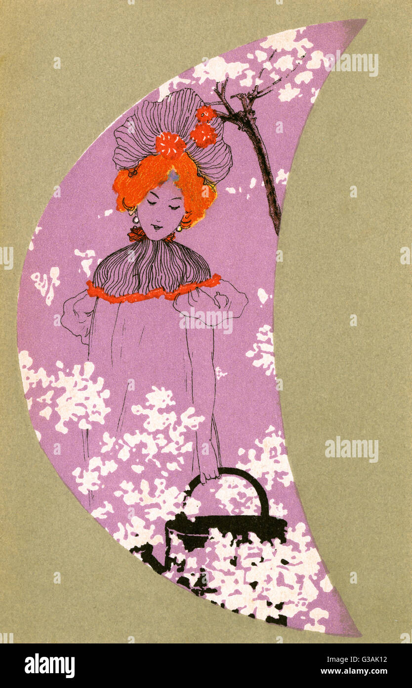 A pretty girl walks amid the spring blossom holding a watering can in this stylised scene with heavy art nouveau - Stock Image