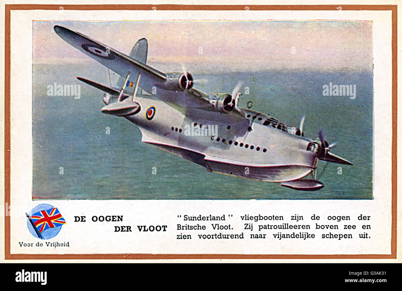 WW2 - British RAF Flying Boat 'Sunderland'     Date: circa 1940 - Stock Image