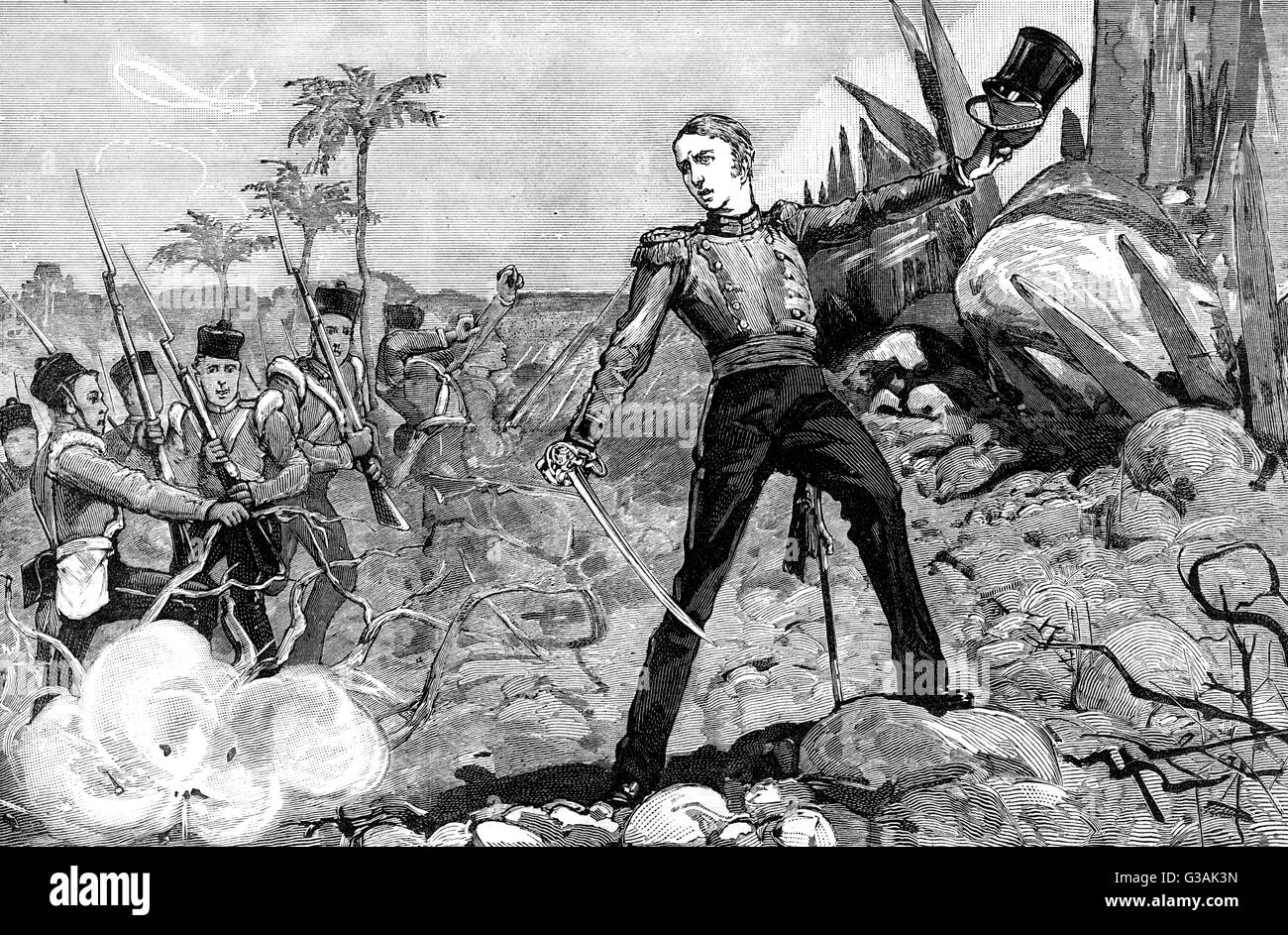 Sir Garnet Wolseley(1833-1913) as a young officer in the British army, storming Myat-Toon's stronghold, Burma, - Stock Image