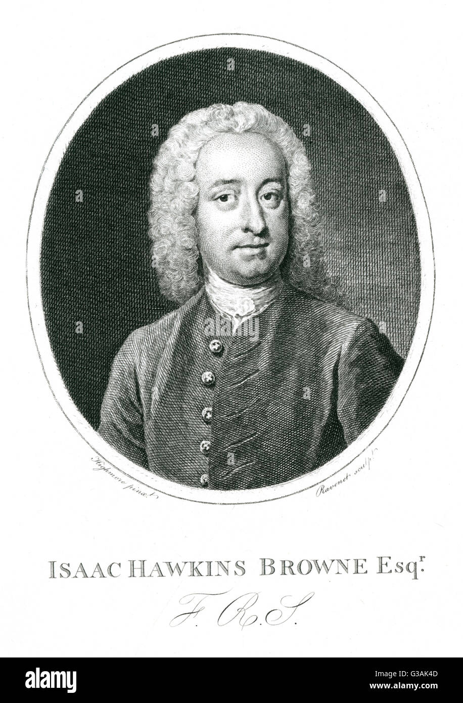 Isaac Hawkins Browne (1705-1760) - barrister, poet - author of some imitations of works by Swift and Pope.     Date: - Stock Image