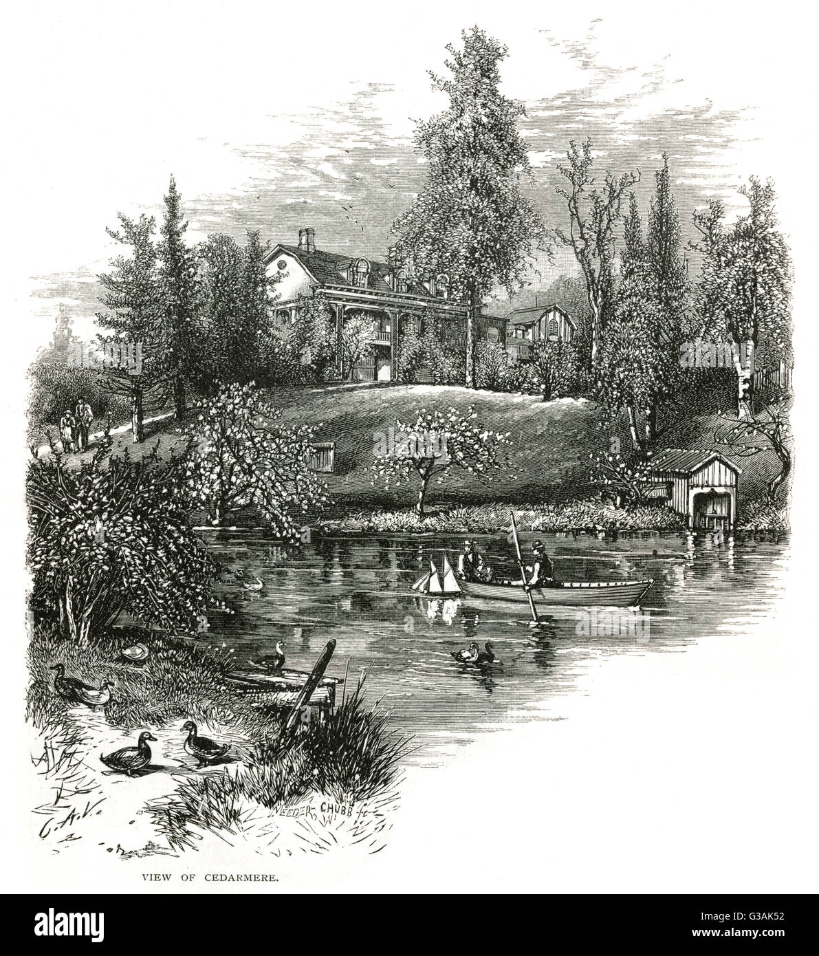 "Home ""Cedarmere"" at Roslyn, Long Island (USA) - House of William Cullen Bryant.     Date: circa - Stock Image"