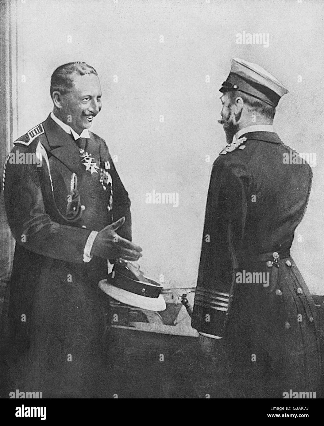 Meeting between Kaiser Wilhelm II of Germany and Tsar Nicholas II of Russia.     Date: c. 1900 Stock Photo