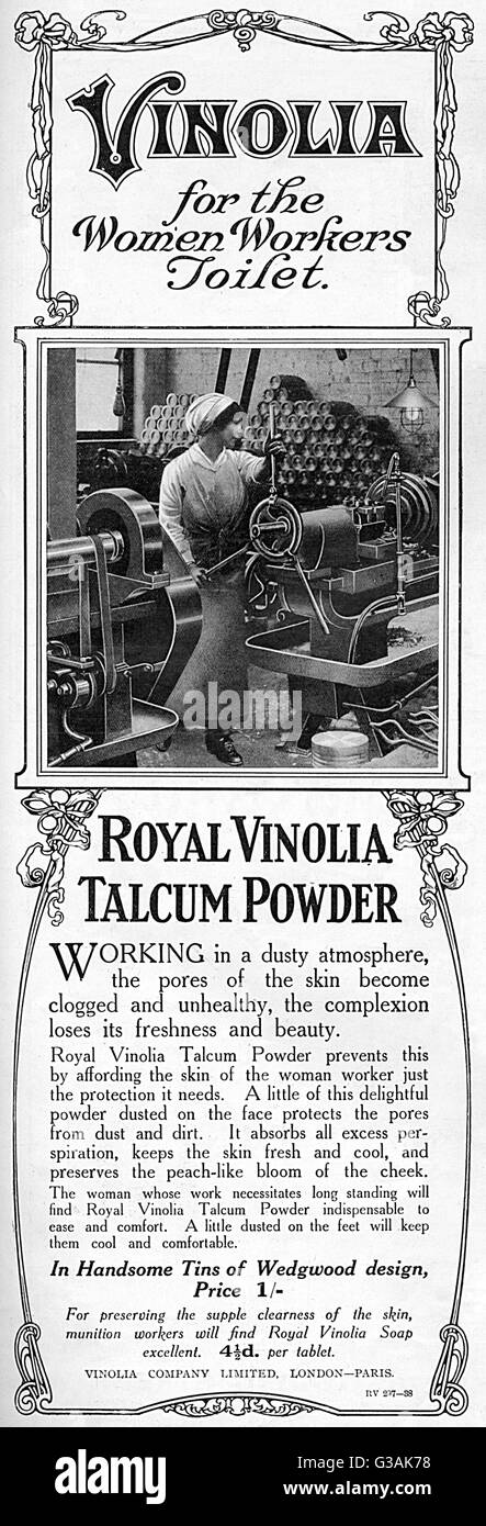 Advertisement for Royal Vinolia Talcum Powder, ideal for factory and munitions workers during the First World War. - Stock Image