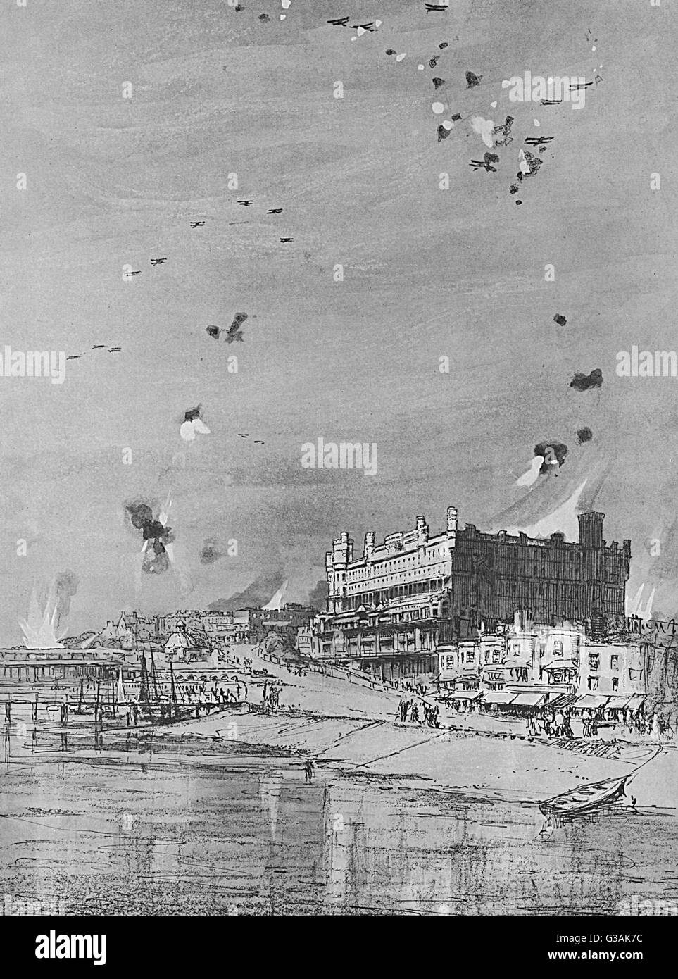 An air raid over Southend-on-Sea in Essex on 12 August 1917 in which 10 men, 13 women and 9 children were killed. - Stock Image
