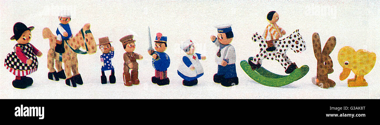 A selection of 'chunkey' wooden toys, made by wounded soldiers at the Lord Roberts Memorial Workshops for - Stock Image