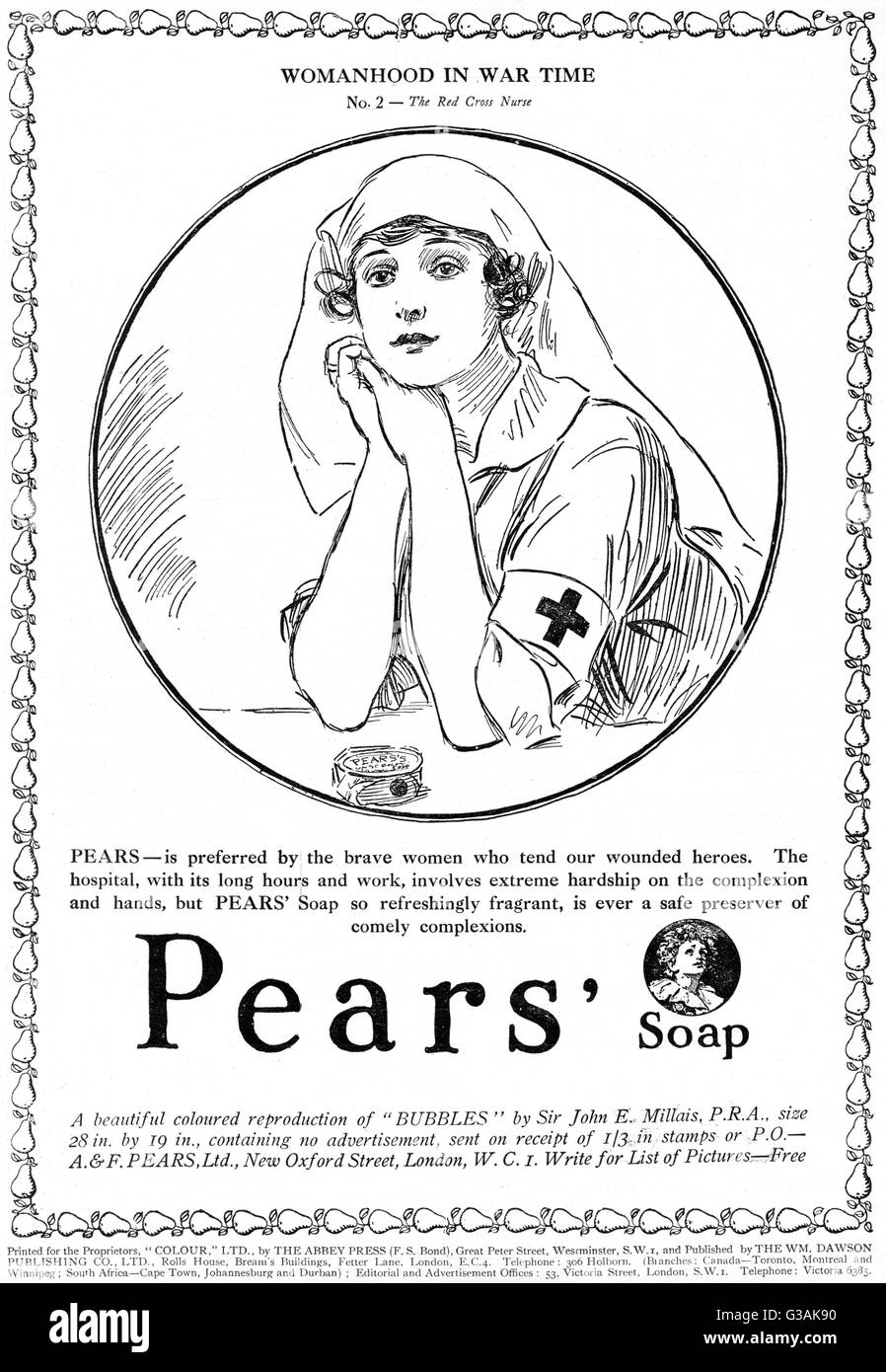 Advertisement for Pears soap from the First World War period, part of their Womanhood in Wartime series with this - Stock Image