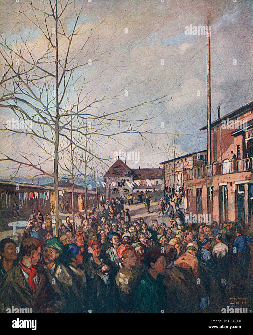 Prisoners at Ruhleben Prisoner of War Camp lining up for their bacon ration at Christmas, painted by artist and - Stock Image