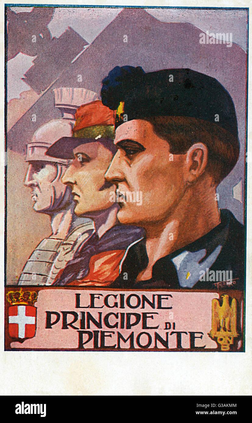 Legione Principe di Piemonte. Italian Civilian Regiment - Militia (245th Legione Milizia Avanguardia). Shown in - Stock Image