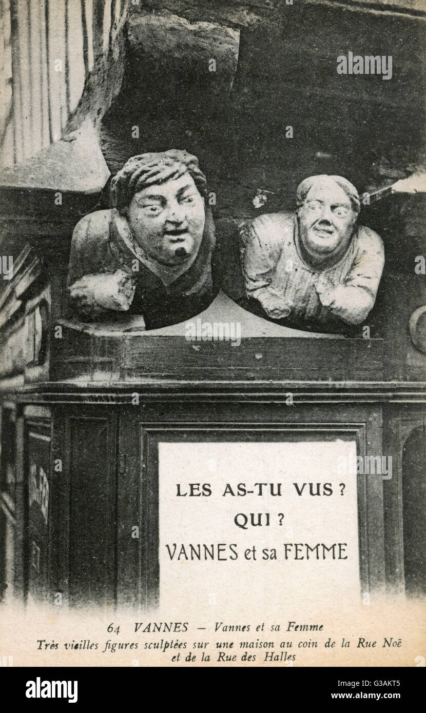 Two carved stone busts at Vannes, Morbihan, Brittany, France - carvings found on the corner of Rue Noe and Rue des - Stock Image