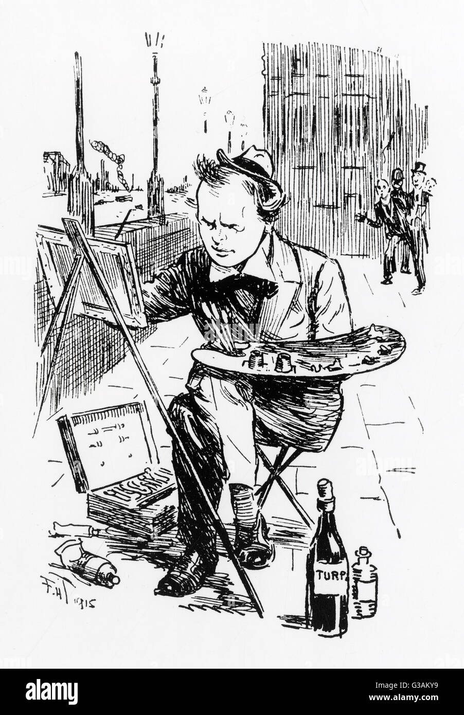 Winston Churchill - Punch Cartoon     Date: 1915 - Stock Image