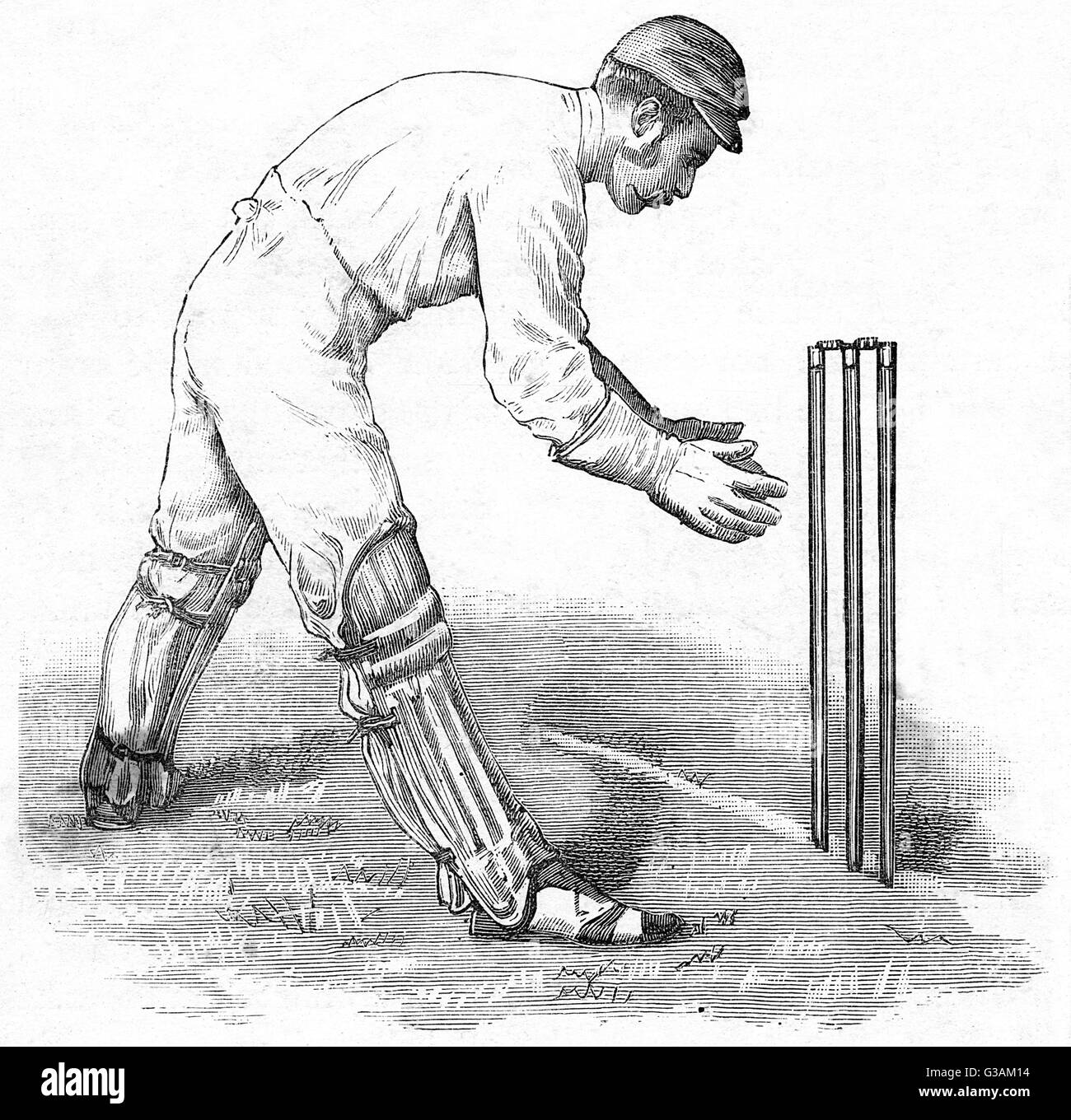 A wicket keeper in position for the match.     Date: 1888 - Stock Image