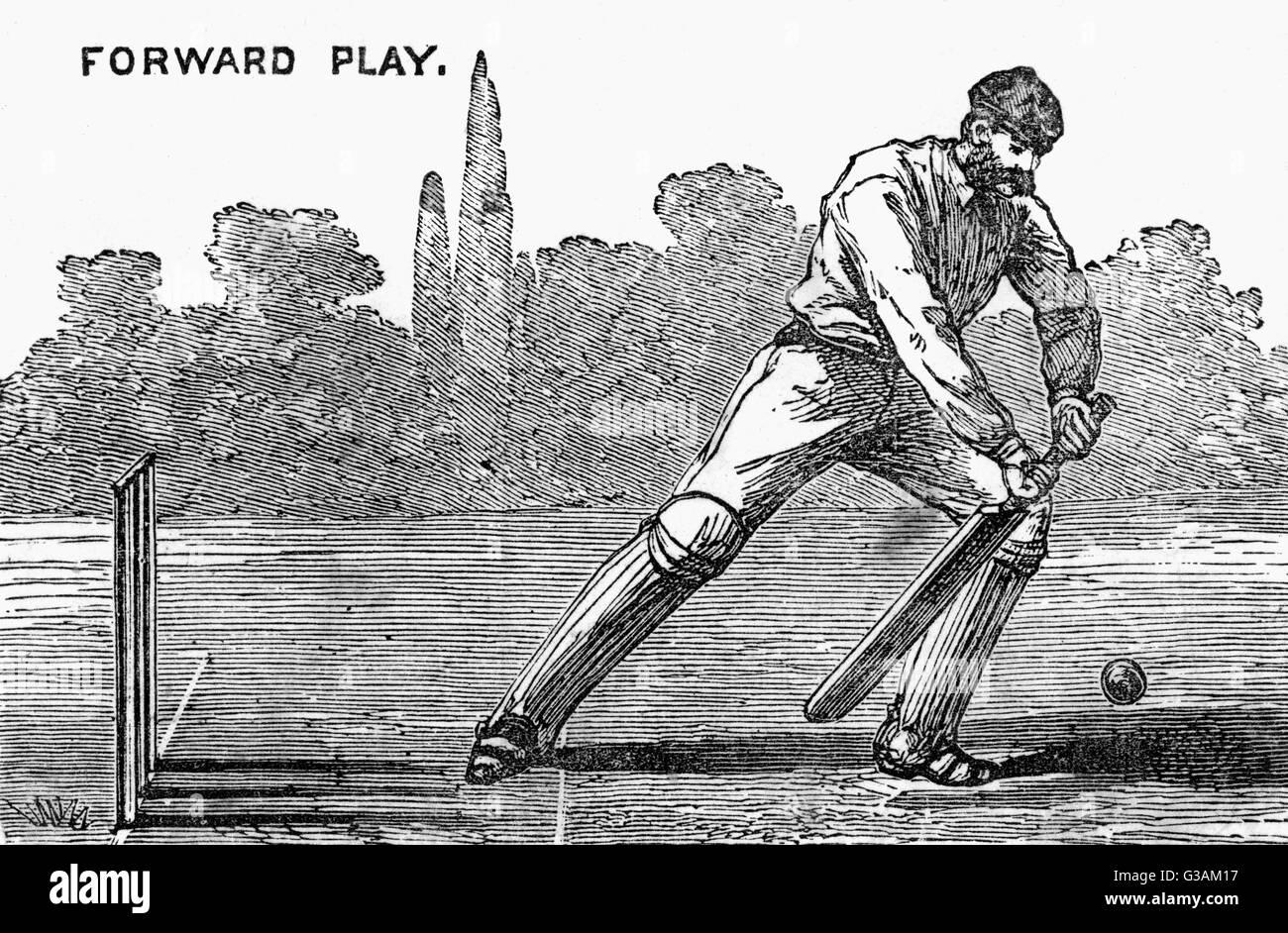 Batsman showing the forward played shot.     Date: 1892 - Stock Image
