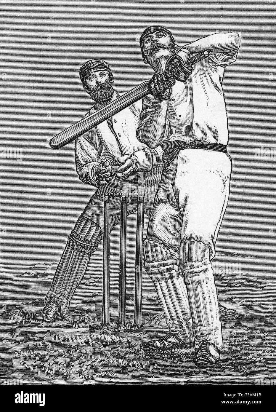 A pokey batsman dealing with a high-dropping full-pitch.     Date: 1888 Stock Photo