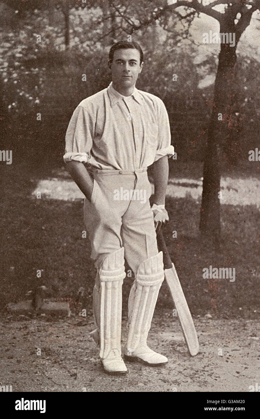 The Australian cricketer Warren Bardsley, an opening left handed batsman who played 41 Tests between 1909 and 1926. - Stock Image