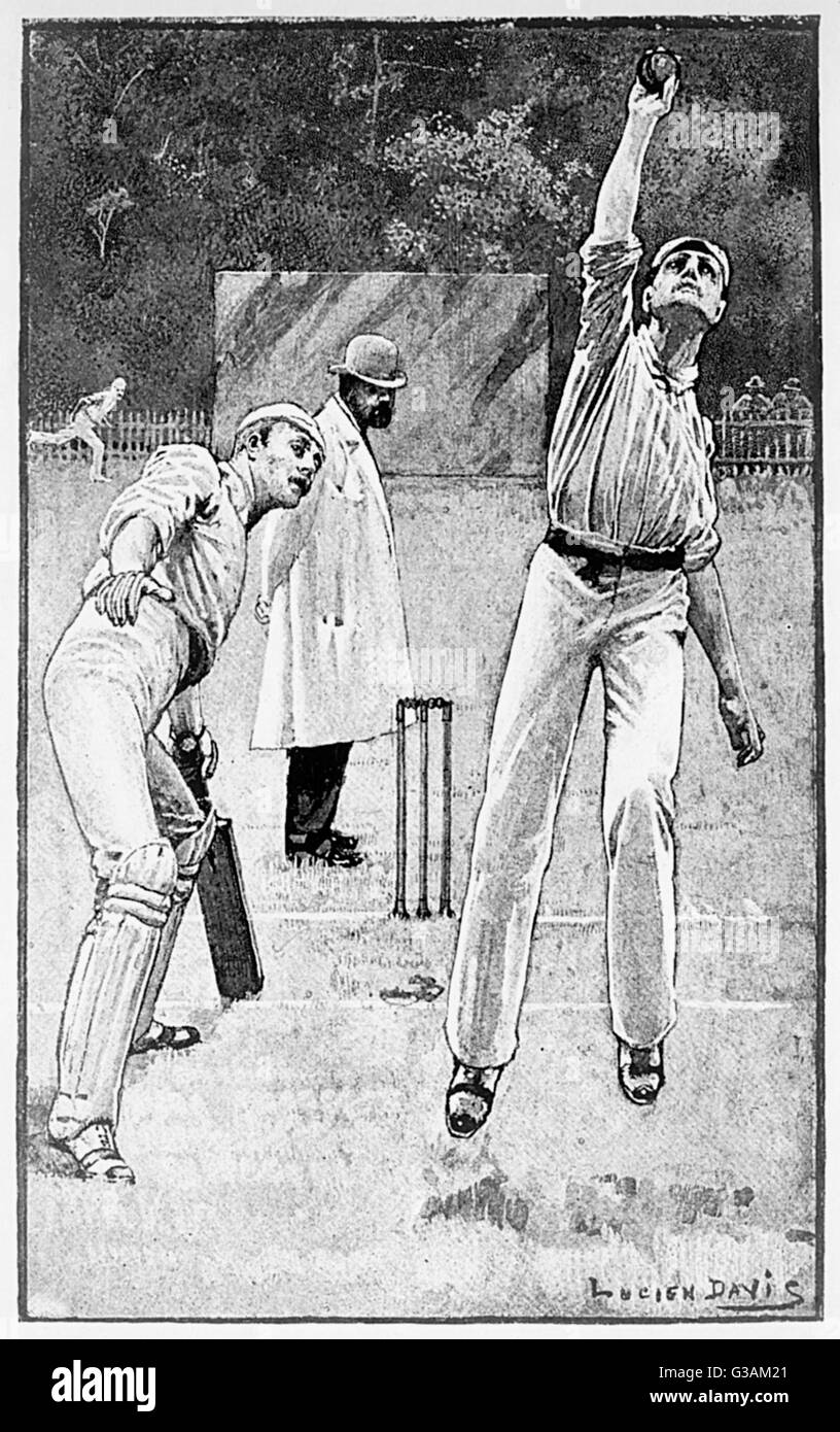 The batsman has been bowled out and caught out by the bowler.     Date: 1888 - Stock Image