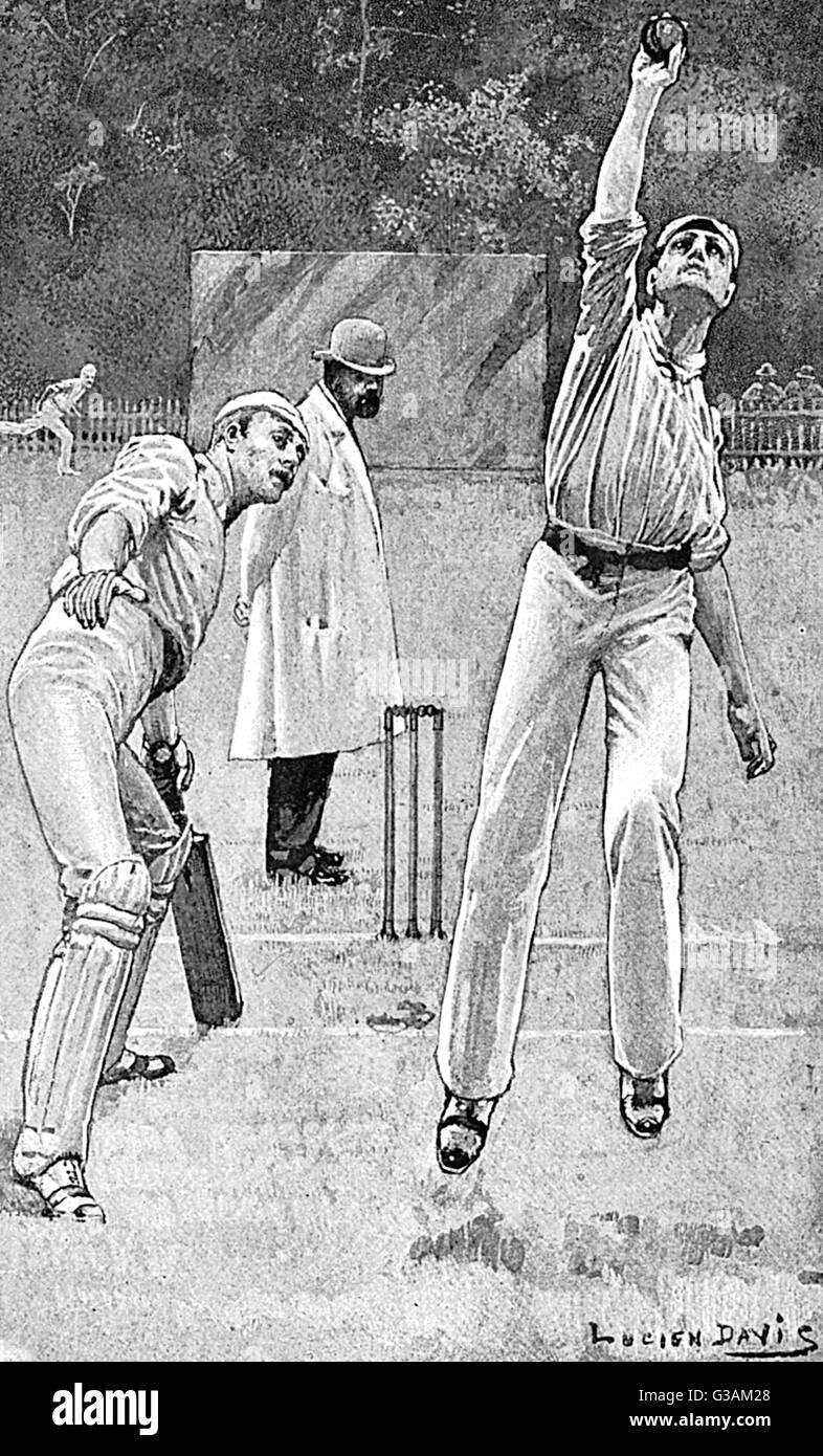 A batsman is caught out and bowled out.     Date: 1888 - Stock Image