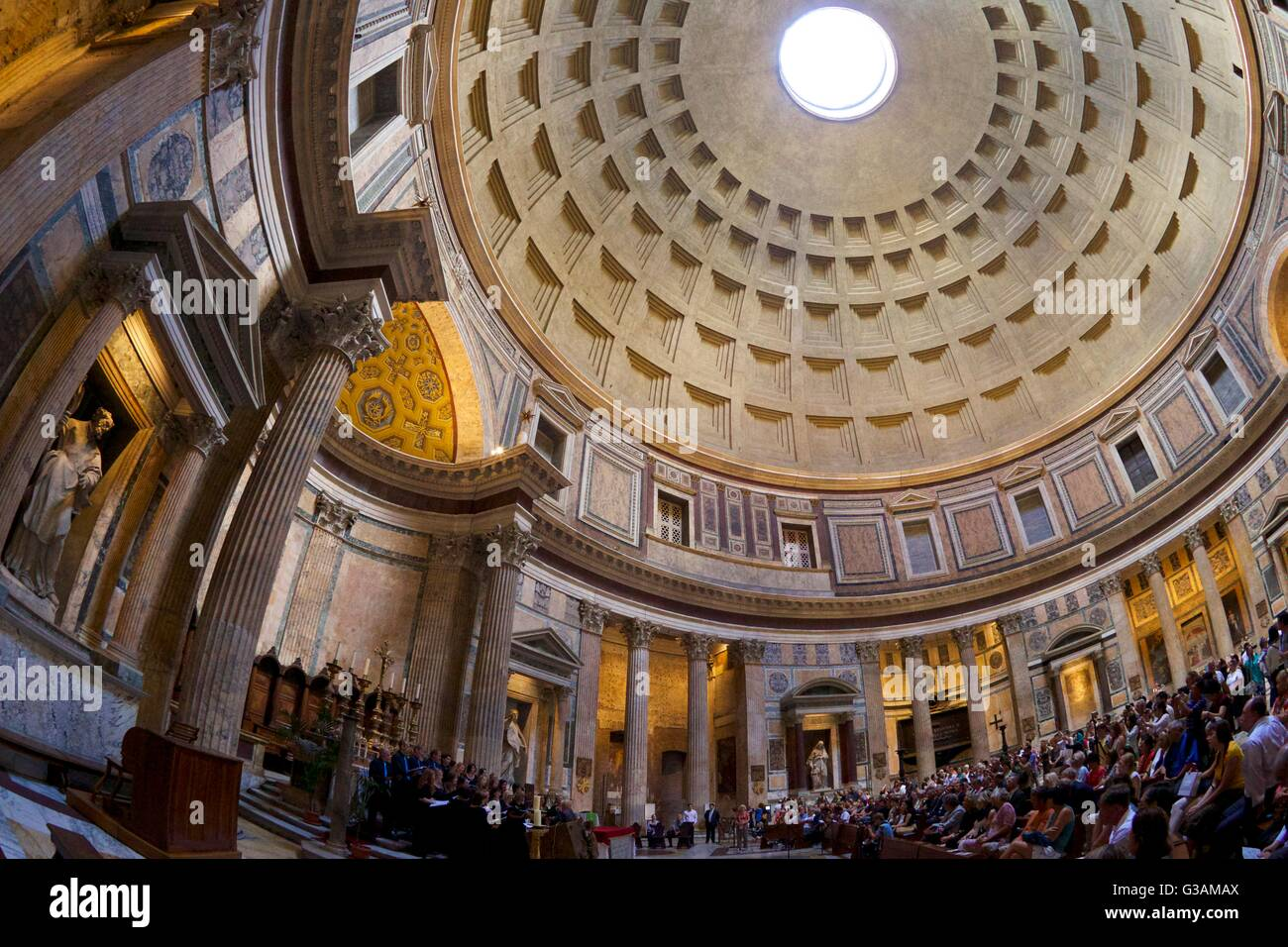 Interior view of choral concert, Pantheon, Rome, Italy - Stock Image