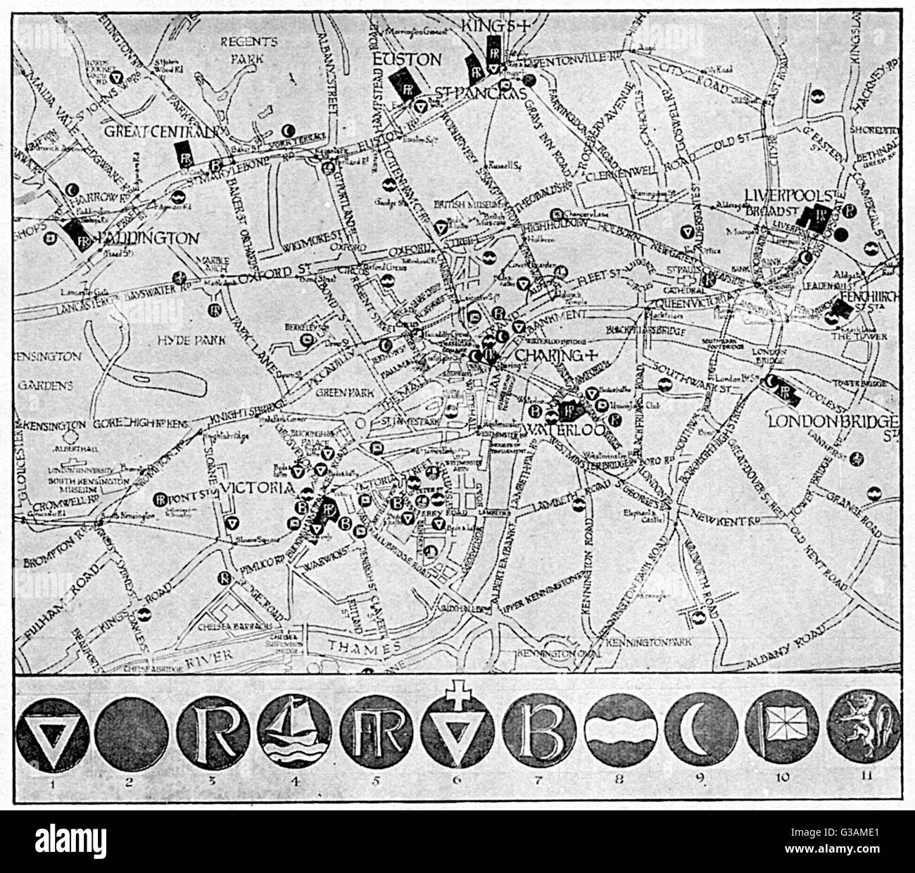 A map showing the various YMCA huts available for soldiers and sailors in the capital on leave during the First - Stock Image