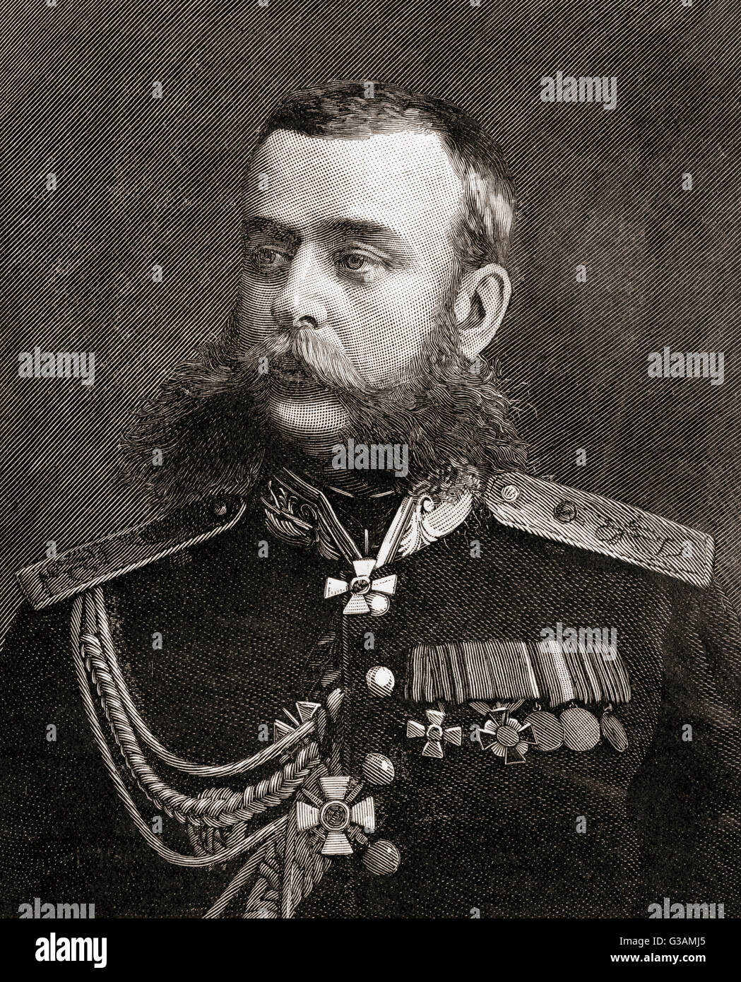 Mikhail Dmitrievich Skobelev,1843 – 1882.  Russian general during the Russo-Turkish War of 1877–1878. - Stock Image