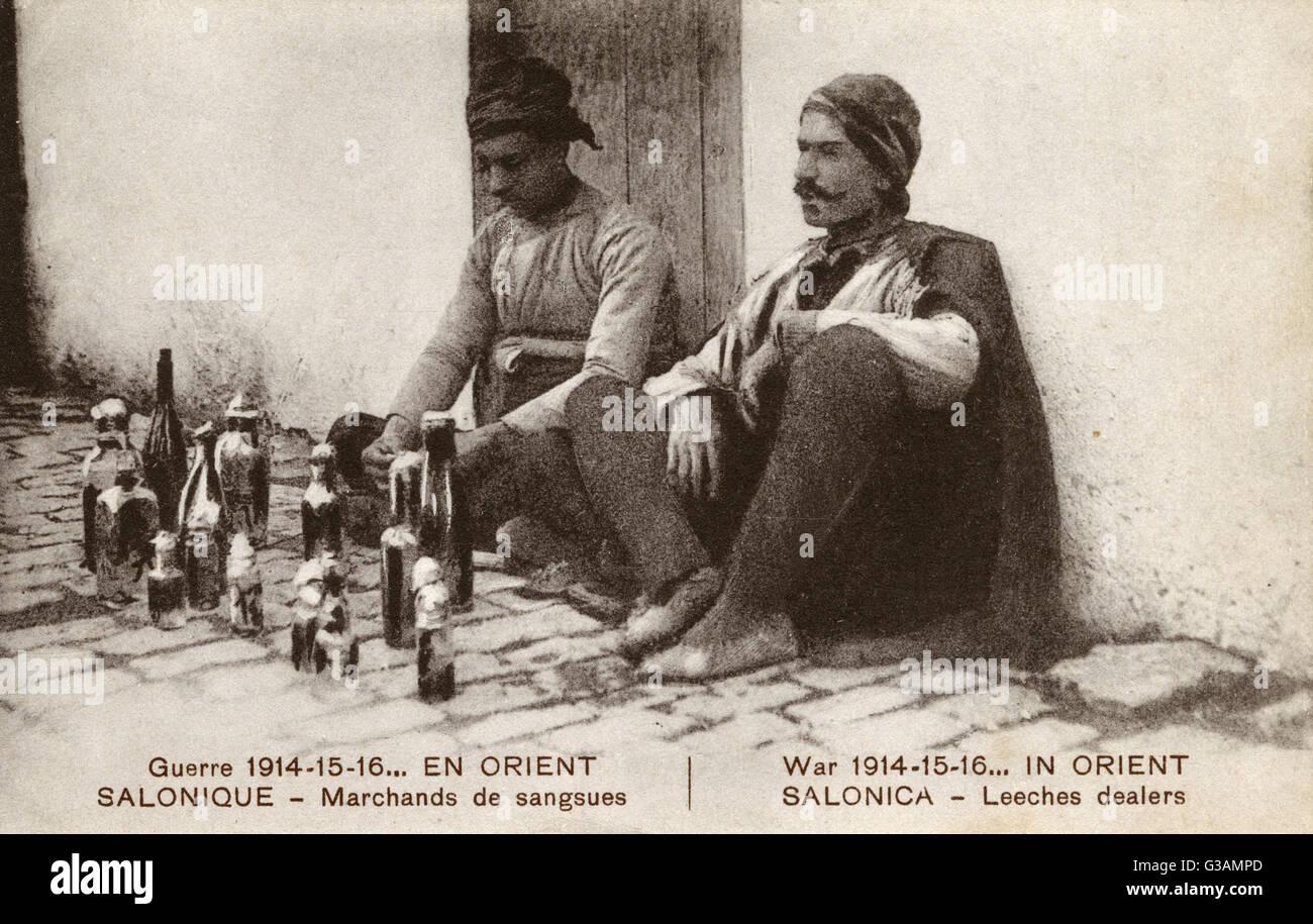 Street Dealers in Leeches - Thessaloniki, Greece     Date: circa 1916 - Stock Image
